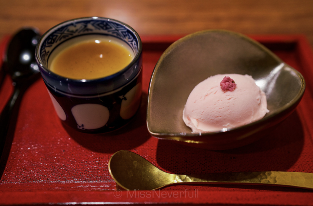 9. Dessert: Sakura ice-cream with plum, pumpkin pudding