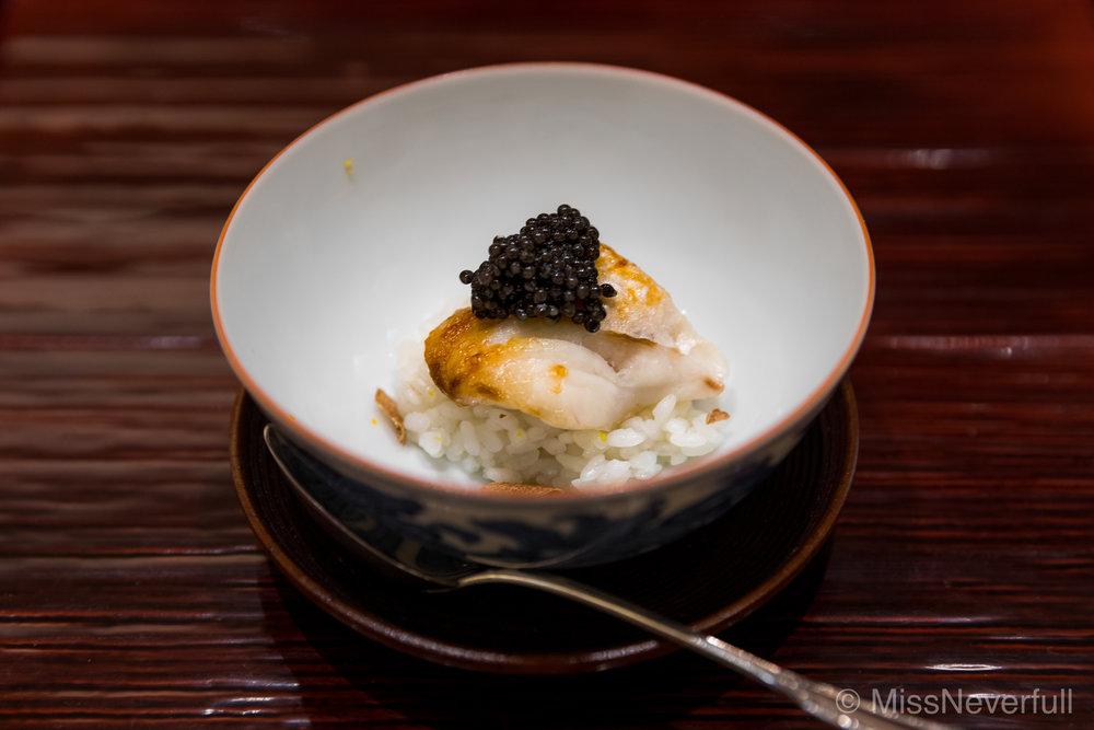 1.Kuji iimushi with caviar (くじ飯蒸しとキャビア)