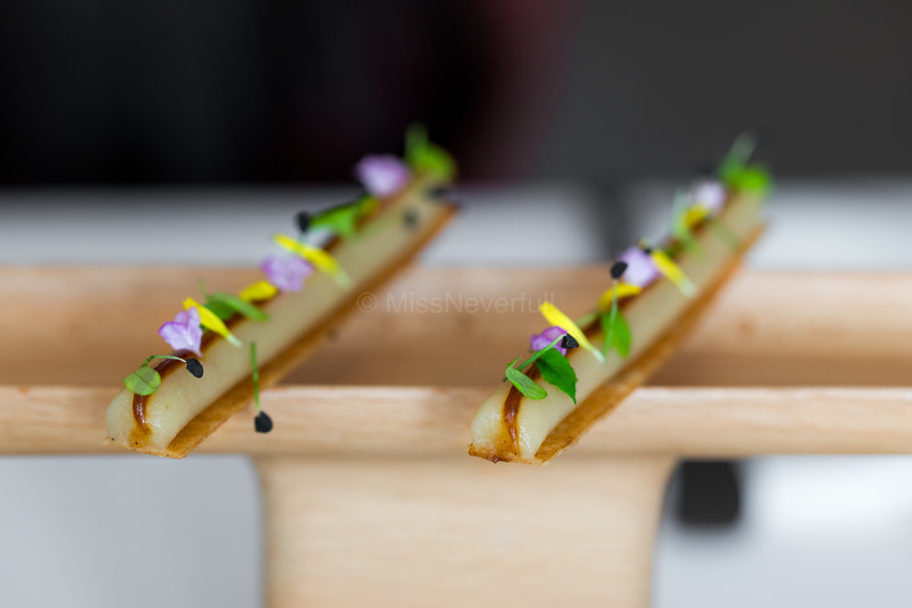 Miso, celeric and wild flowers on chips
