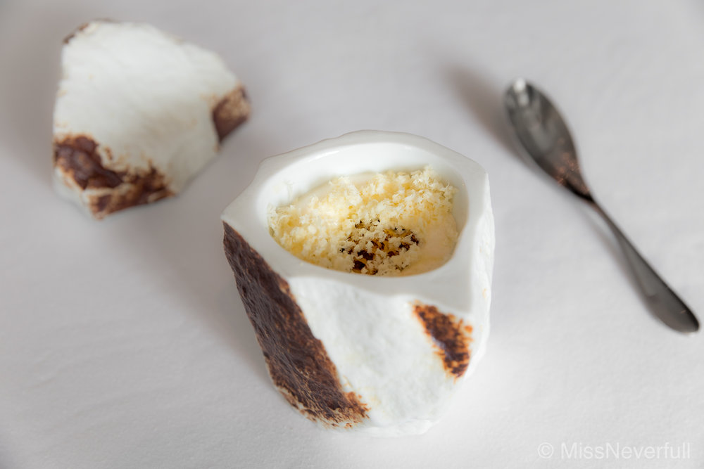 1. UNIQUE: charred corn, bitter almond, horseradish and vanilla