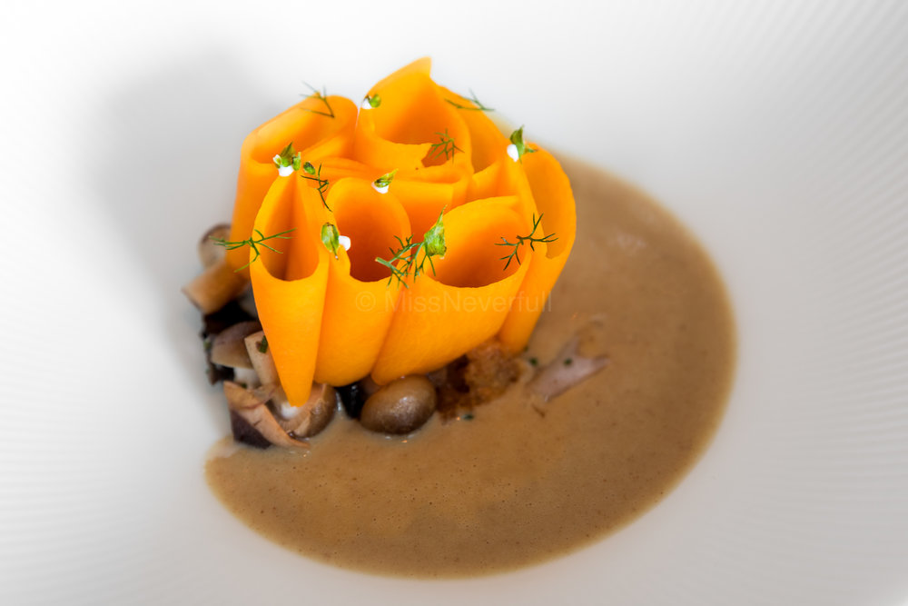 5. PURE: burnt beef tongue, butternut, warm pumpkin soup