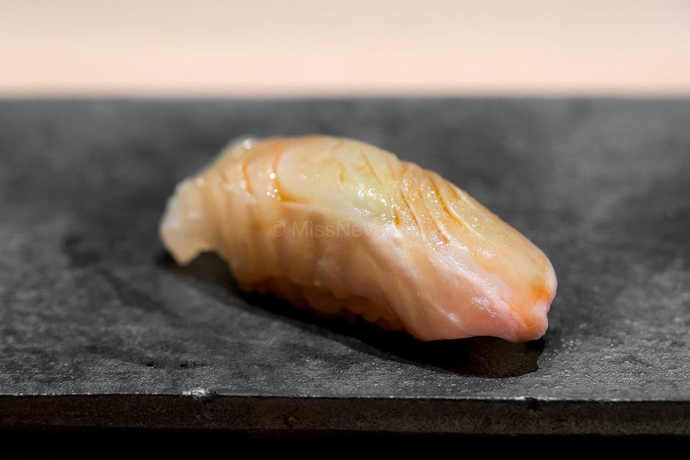 10. Hirame with kombu-jime & sudachi