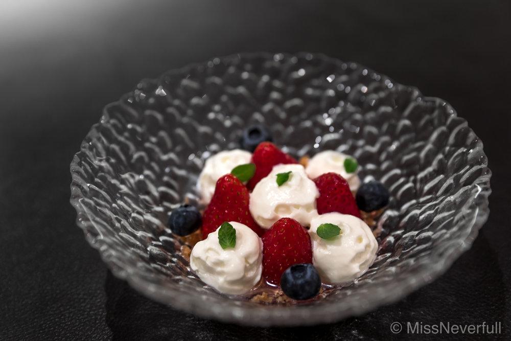 6. Dessert: Vinegar flavored strawberries, Idiazabal cheese mousse
