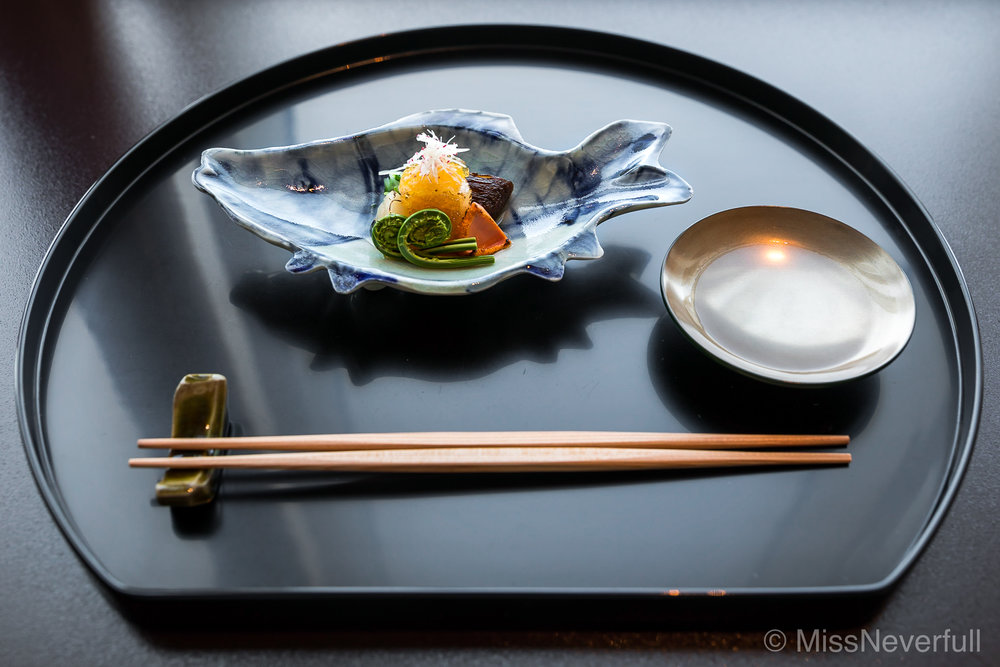 1.  帆立貝 春野菜 ジュレ | Hotate-gai, Spring vegetables and Dashi jelly