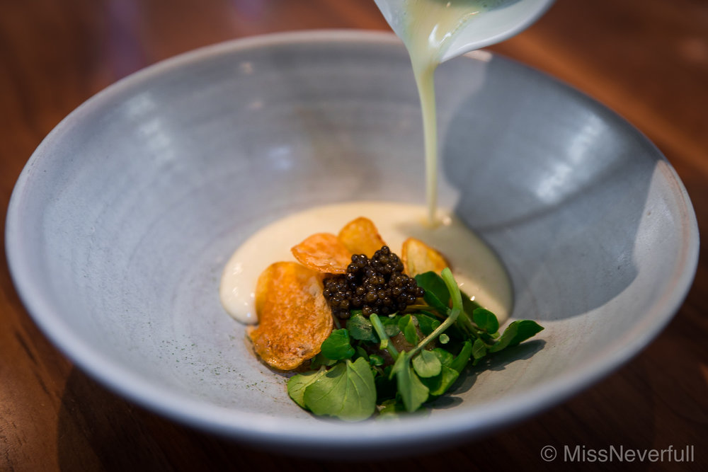 2. Smoked Dorset Char, Pink Fir Potato Soup, Sansho & Beluga Caviar ( £ 25 Supp)