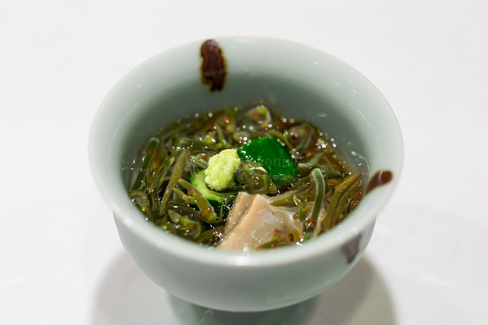 3. Junsai (water shield) from Hyoko, awabi (abalone) from Chiba | 三田の蓴菜 房総鮑