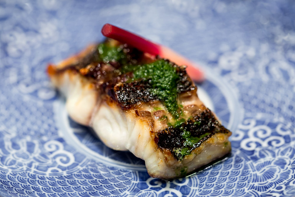 10. Grilled Isaki (grunt) with Tade-zu (knotweed vinegar) | 焼物 イサキ 蓼酢がけ