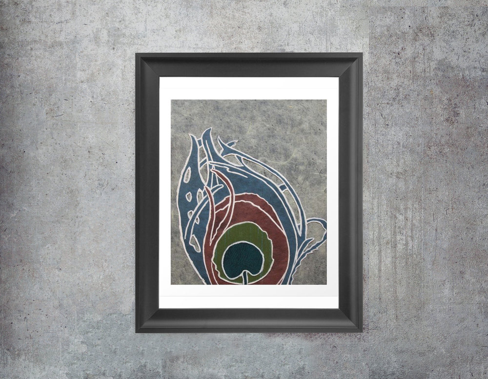 Art Nouveau Peacock Feather Art Print