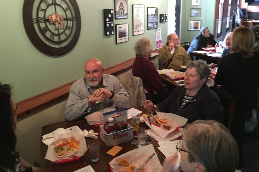 Seniors enjoy lunch at the Preservation Pub. CREDIT CHRIS CAYA WBFO NEWS