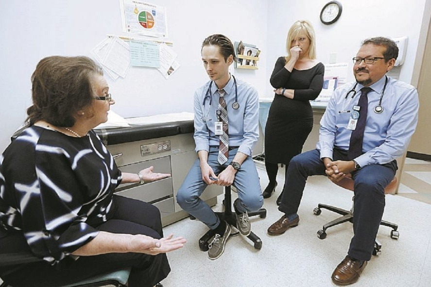 An important part of the UBMD Internal Medicine @ Hertel-Elmwood Center's educational process: The staff practices the consultation and patient diagnosis scenario through role playing what it's like when staff informs families of their findings and options. (Robert Kirkham/Buffalo News)