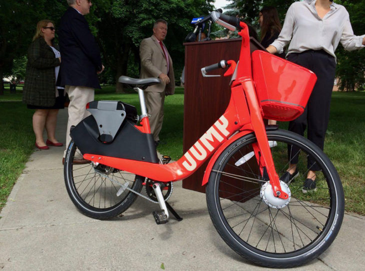 The electric drive system on ebikes can only be activated through a pedaling action and is limited to relatively low speeds. (photo courtesy of Buffalo Rising)