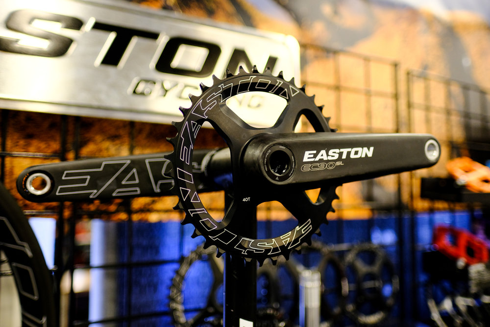 Easton has a new line of carbon fiber components, including flared drop bars, new carbon stems and these sweet cranks, all ready for your next gravel build!