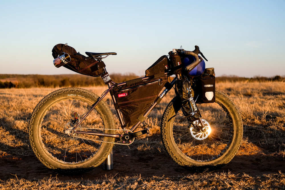"The Ultimate Glamping Machine: The drop-bar Surly Pugsley ""The Drugsley""."