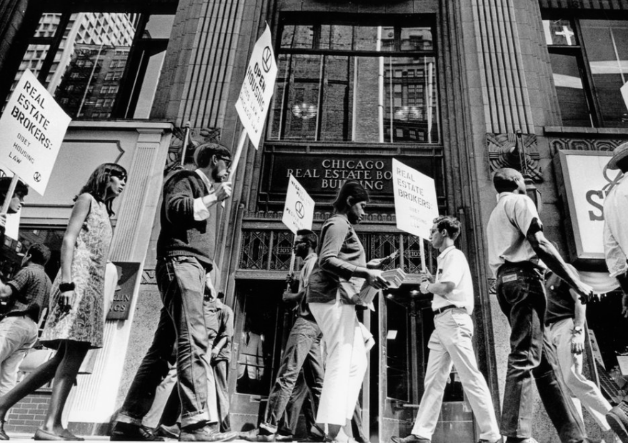 civil rights  August 18, 1966 Civil rights march in front of the Chicago Real Estate Board building, 105 W. Madison.