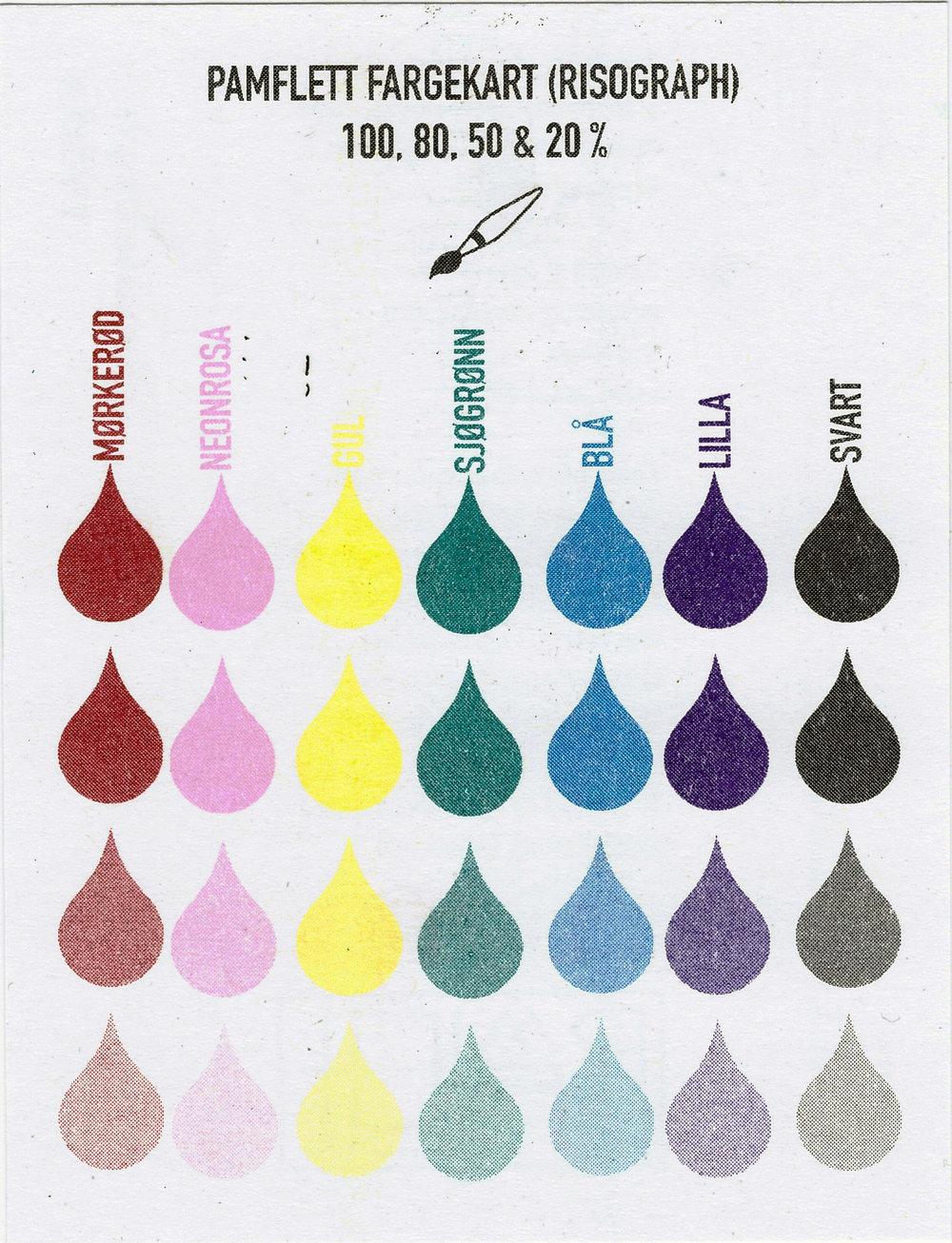 Pamflett har disse fargene tilgjengelig: Marine red (mørkerød), Fluorescent Pink (neonrosa), Yellow, Teal (sjøgrønn), Neon green, Blue, Purple og Black.