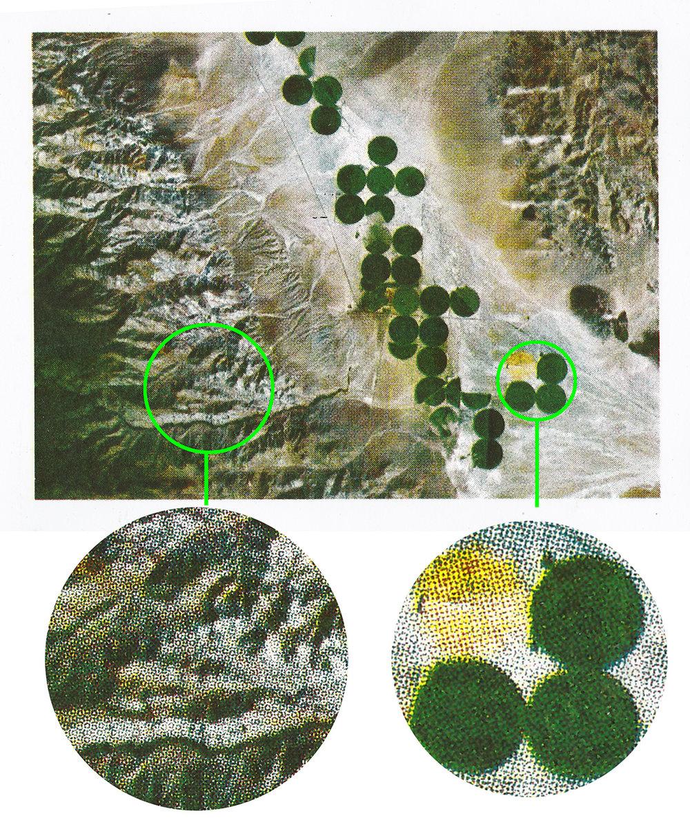 Foto trykket med 4 farger: sjøgrønn (teal), gul, mørkerød (marine red) og svart. Maskinen kan oversette selv til raster, antall lpi (line per inch) velger man i utskriftsvinduet. Dette bildet er 17,5 x 12 cm.