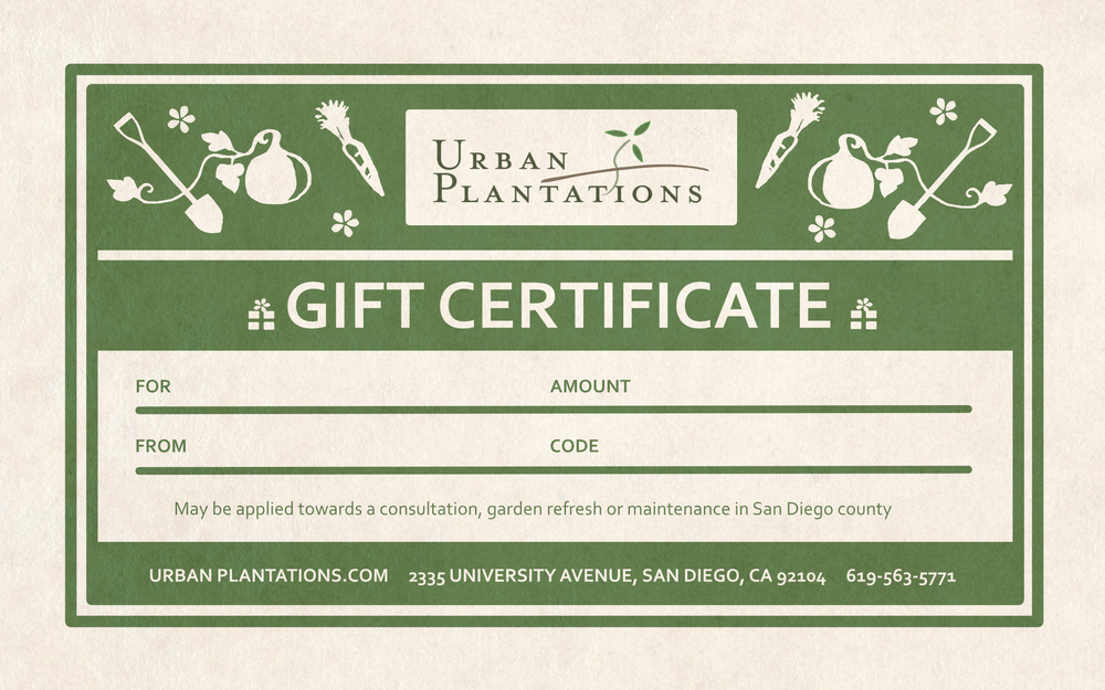 Urban Plantations Gift Certificate