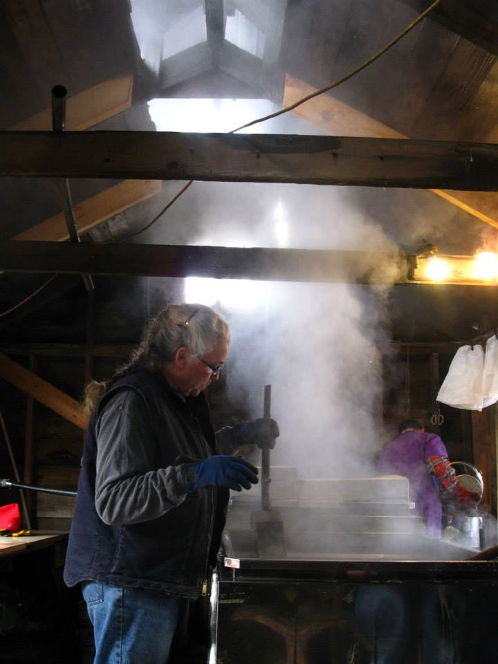 Lynda boiling the sap into sugar, March 2013. Photo by me.