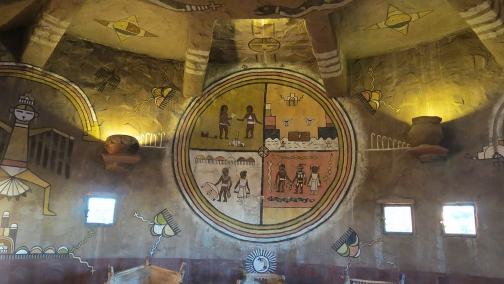 Inside the observational tower with recreated Pueblo/Hopi/Zuni art.