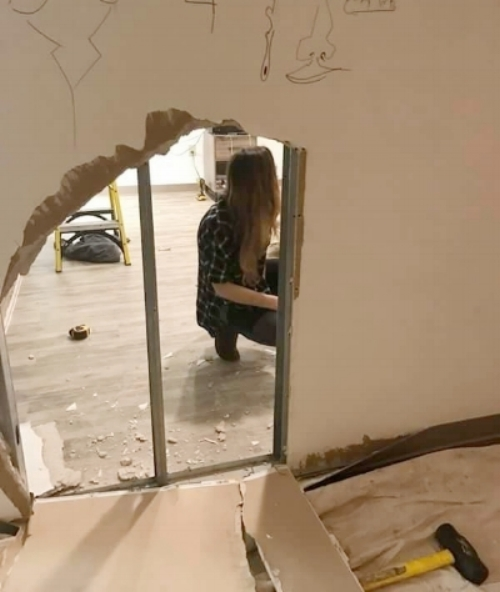 Kate knocking down the wall, March 2017