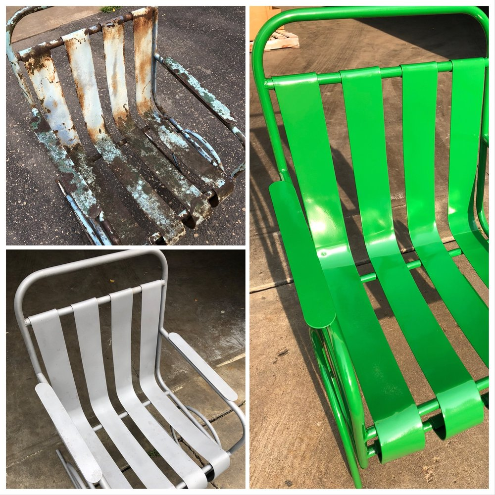 Top Left= The Original Chair  Bottom Left= Chair Sandblasted By  Marco Sandblasting   Right= Finished Produce