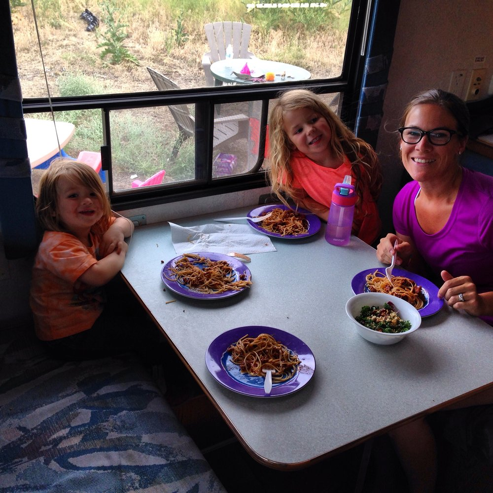 Enjoying our first meal, where it all started in the lovely little camper.