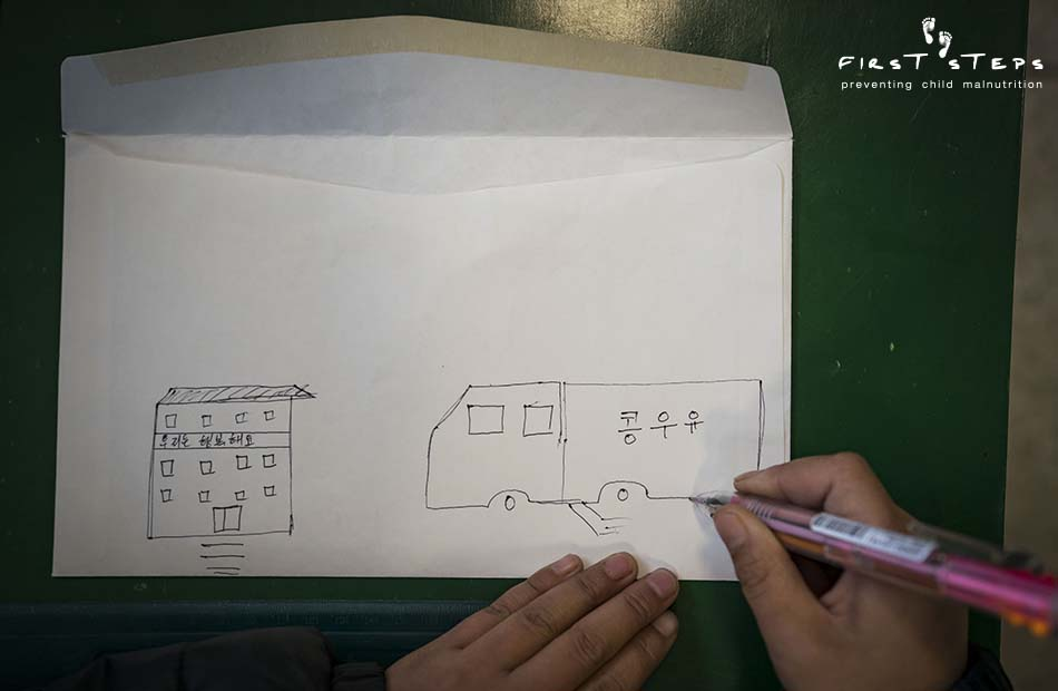 - Jung Myong-Bom's drawing, on the back of an envelope we gave him, depicted the Wonsan Boarding School and a soymilk delivery truck.