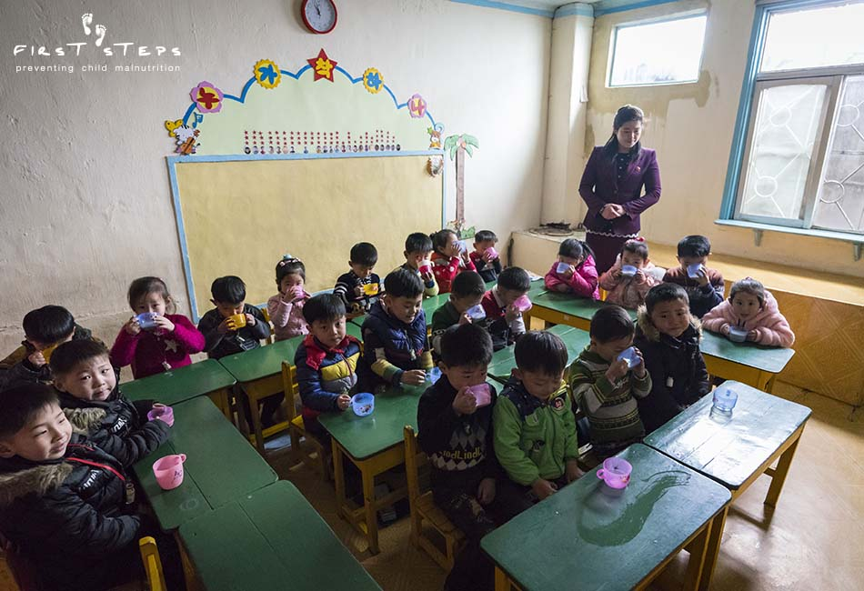 - While in Wonsan, the team also visited the Poha Kindergarten. Teacher Hwang Hye-Sun explained that the children will be going to grade one in April. In North Korea, children begin kindergarten at age five and attend for two years before going to elementary school.