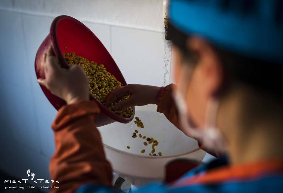 - The Nampo Foodstuff Factory supplies soymilk to nearly 14,000 children in daycares, kindergartens and orphanages. The  soybeans are soaked and then ground up before being cooked into soymilk.