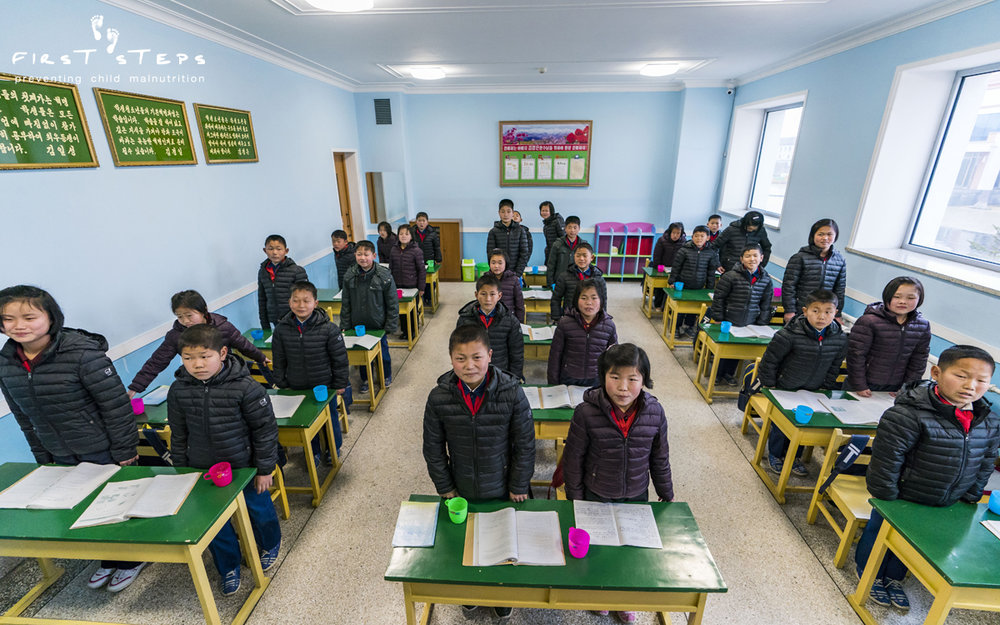 In March, the First Steps team visited a class of 14 year olds at the Wonsan Secondary Boarding School (orphanage).  The students, who would be in grade 9 in Canada, were studying for their final exams.
