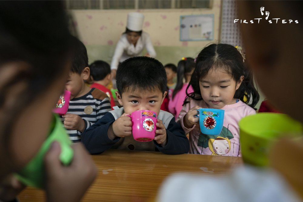 """""""The children like the soymilk and drink it well,"""" said Choe Kyong-Ok, who oversees the inventory and supply of soymilk at the daycare."""
