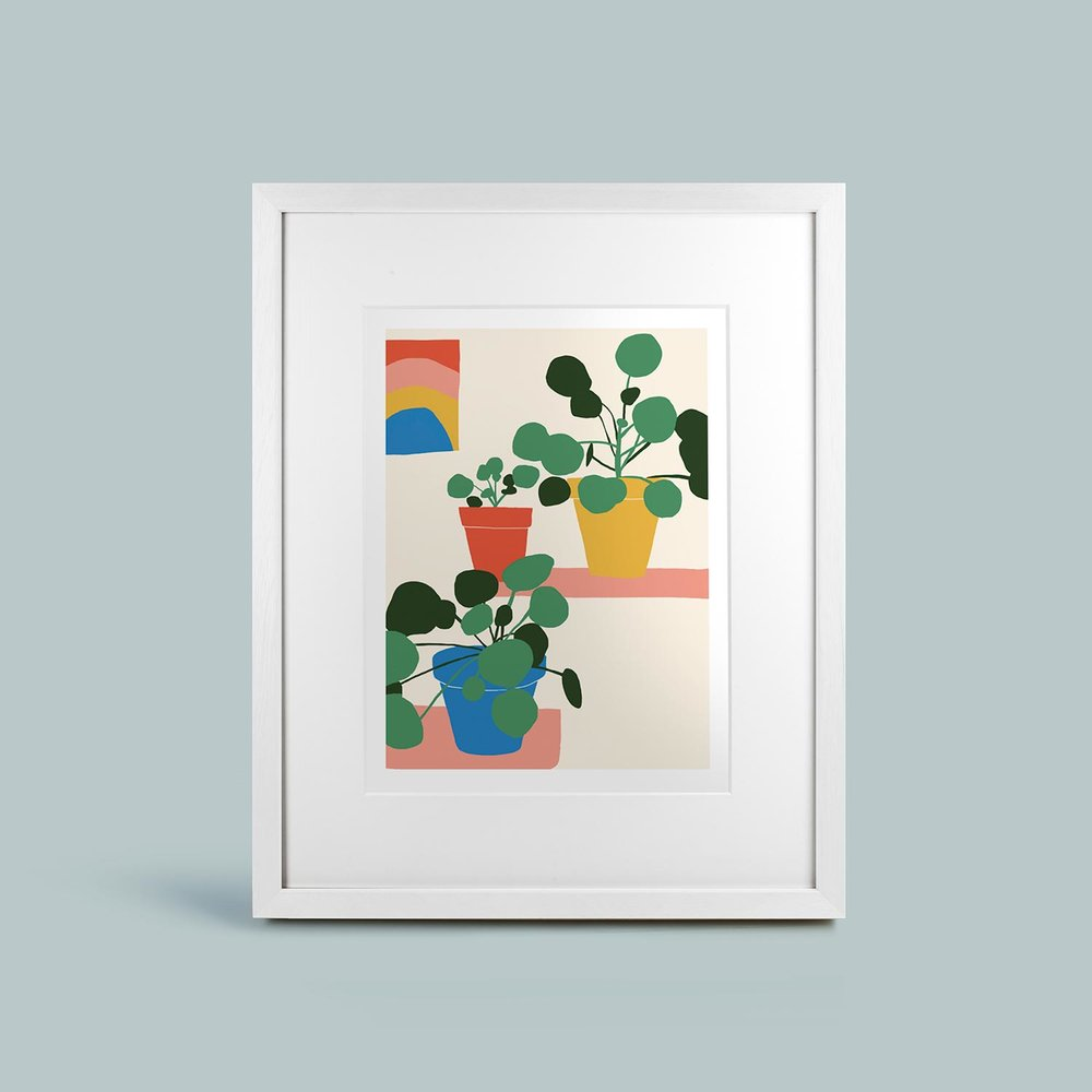 'Pilea Shelfie'   Framed and mounted signed giclee print. Frame size 60cm x 50cm.   SOLD