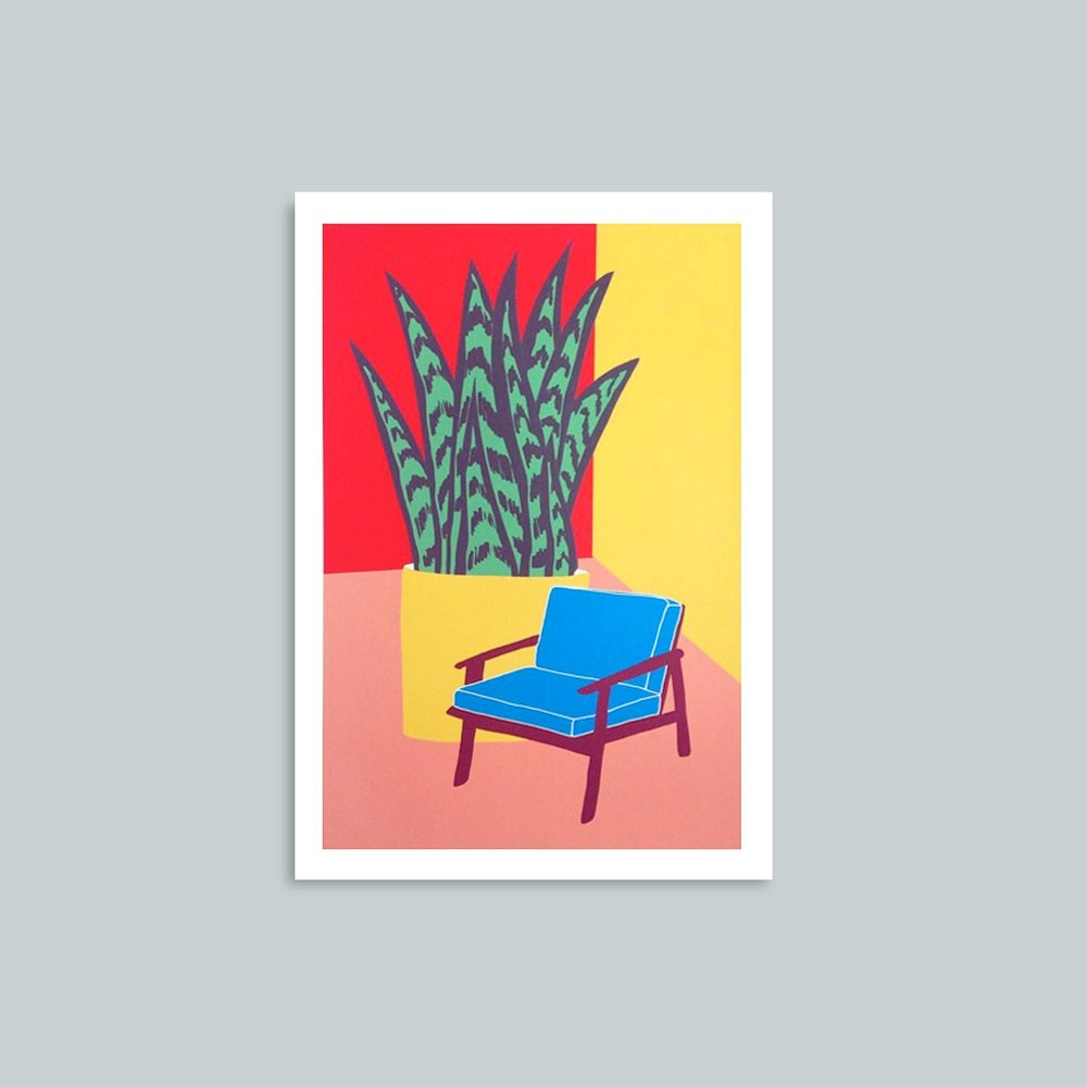 'Blue Chair'   Signed giclee print. 50cm x 40cm.  £45