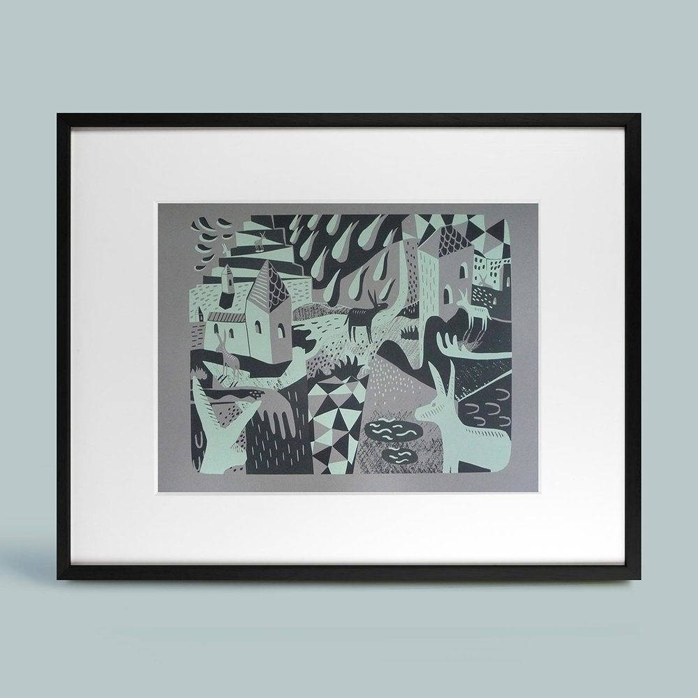 'Happenings in Donkey World #3'   2-colour screen print on grey 280gsm acid-free Clairefontaine Maya paper. Limited edition 27/33. Frame size 60cm x 80cm.   SOLD