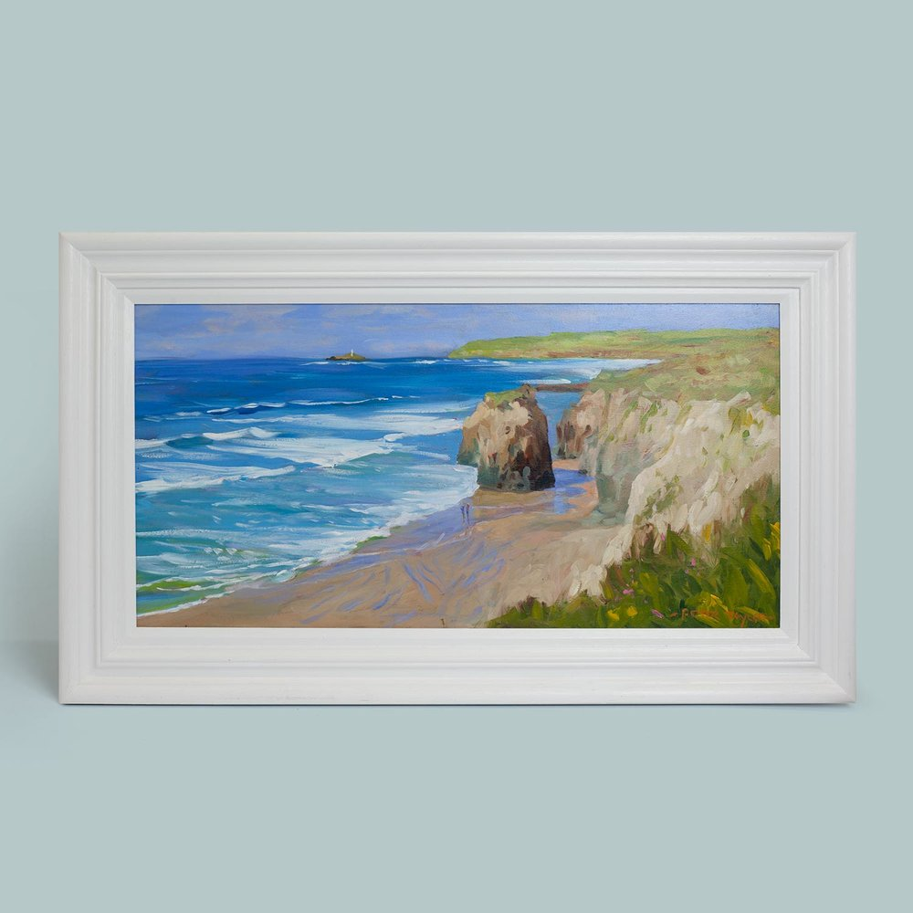 'Gwithian looking to Godrevy'   Original oil painting on board. Frame size 40cm x 67cm.  £395