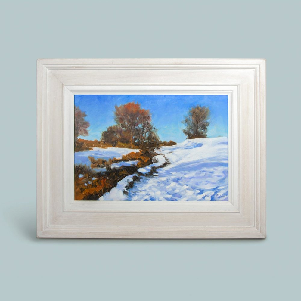 'Snowfall near Downham'   Original oil painting on board. Frame size 41cm x 51cm.  £295