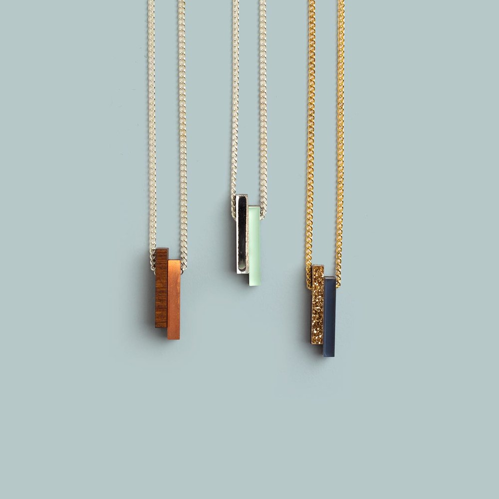Shift Necklaces   Wood/Copper, Silver/Mint, Gold/Navy.  £24