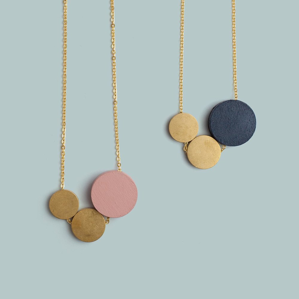 Three Circle Necklace   Pink, Blue.  £28