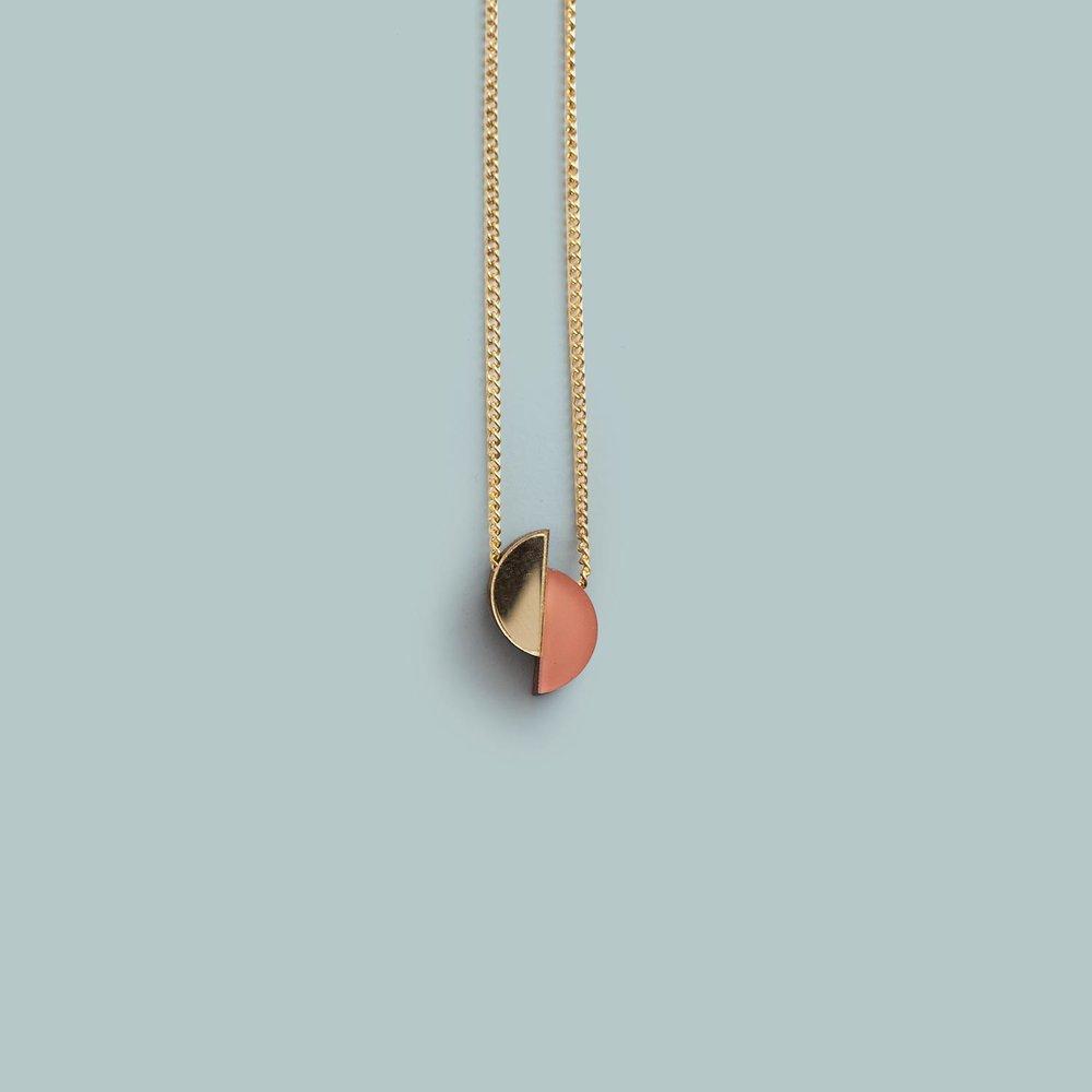 Split Circle Necklace   Gold/Apricot, Silver/Raspberry.  £25