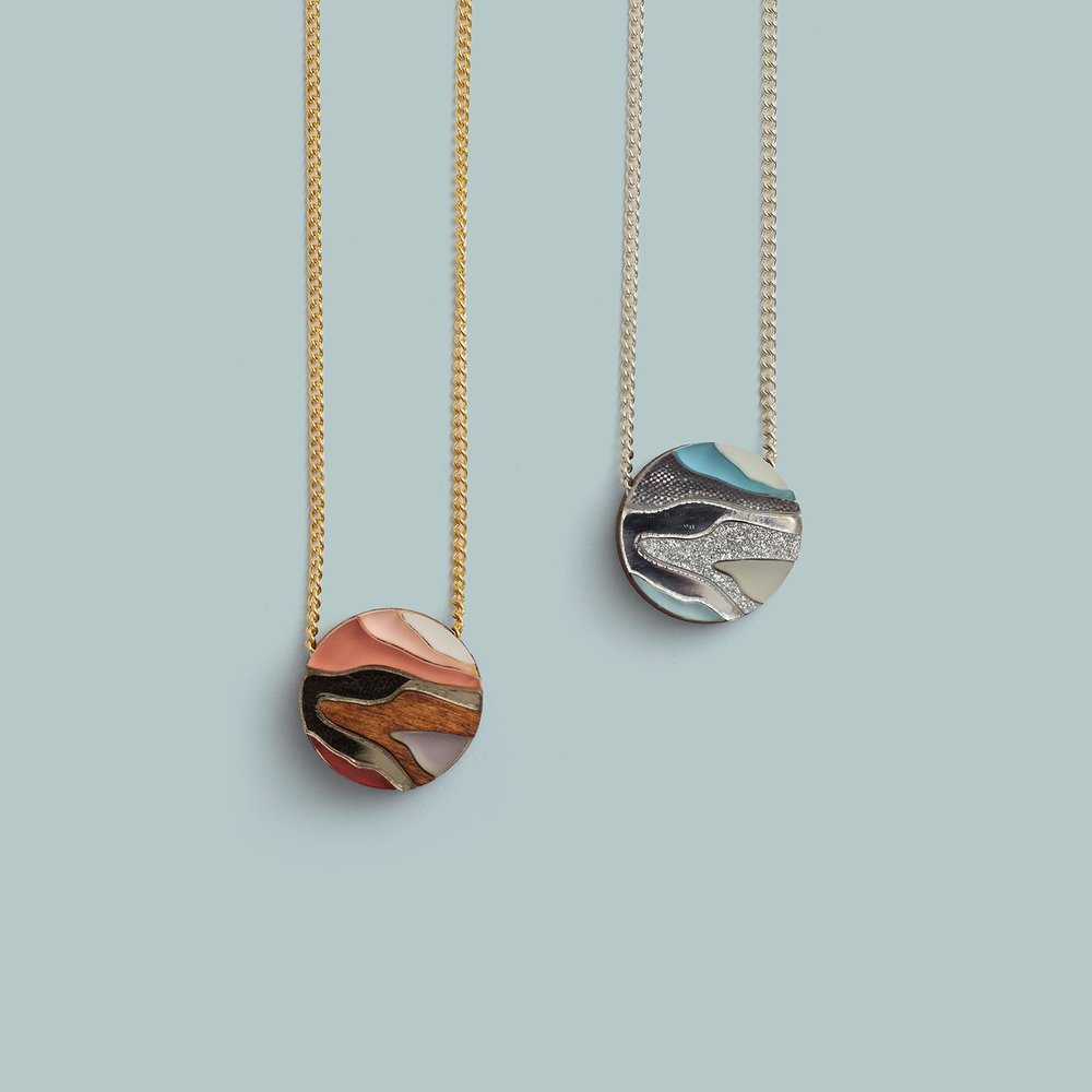 Marble Necklace   Apricot, Blue.  £30