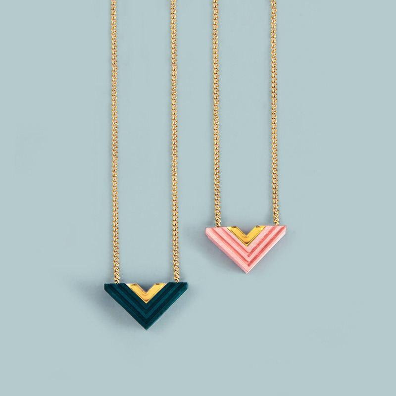Arrow Necklace   Green/Gold, Pink/Gold.  £24