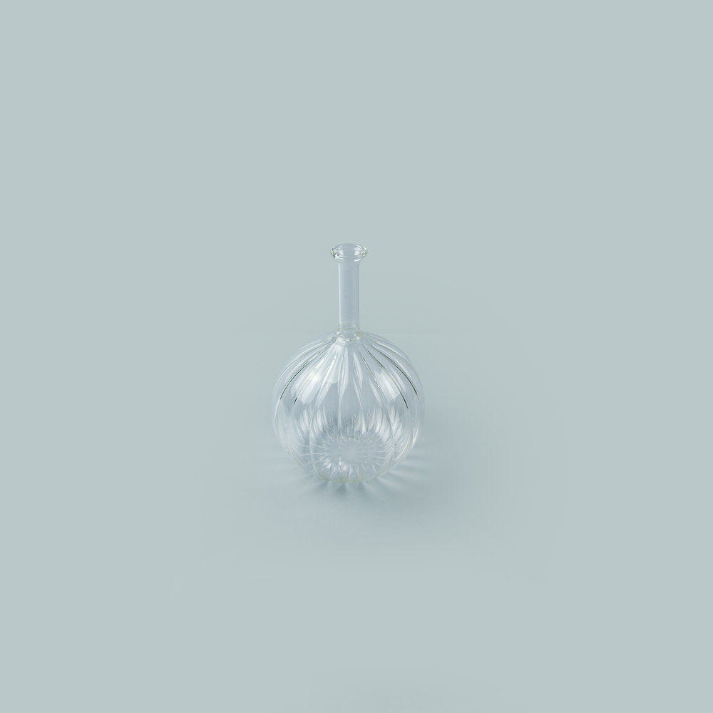 Vitro Vas: Clear   An elegant hand blown glass vase in two textures of glass.  Materials:  Borosilicate glass.  Dimensions:  Width: 10cm x Height: 15cm  £80