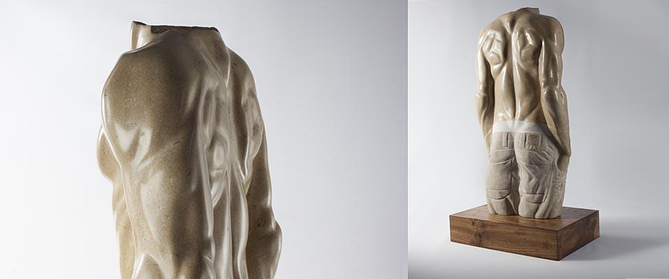 'Torso'   Hand-carved stone original. Portland Stone on Elm Base. Base: 7cm(h) x 26cm(w) x 11cm(d), Sculpture: 53cm(h) x 32cm(w) x 23cm(d)   £1,950