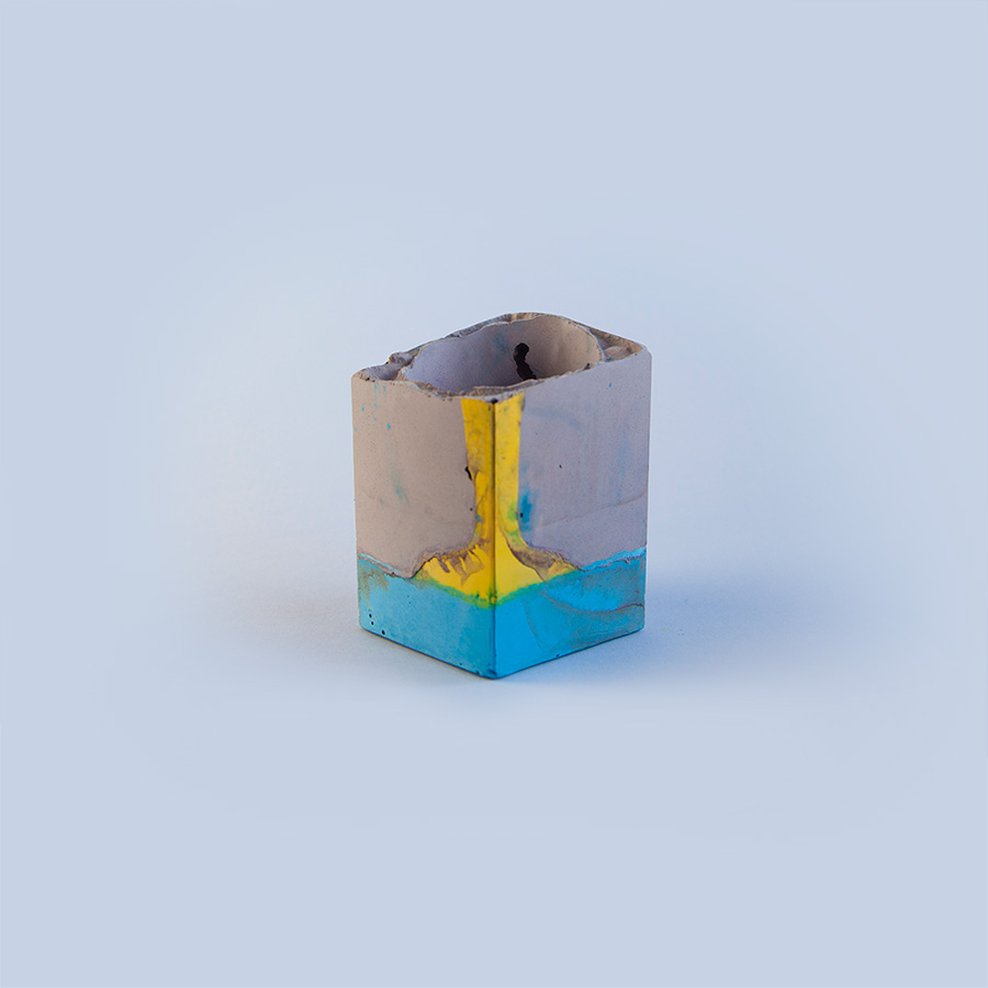 Medium Square Vessel   Contemporary concrete vessel with vibrant palette.  Size: height 10cm x width 7cm.  £30