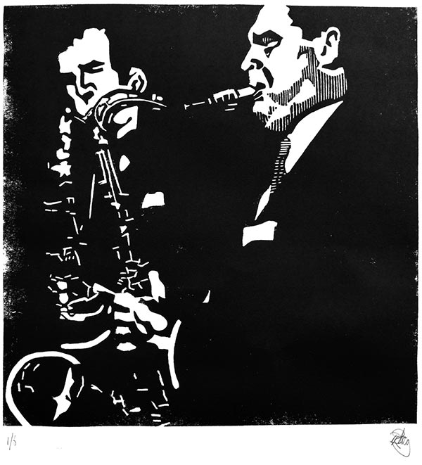 Ronnie Scott & Tubby Hayes (The Jazz Couriers) limited edition linocut print.  30cm x 43cm  £60