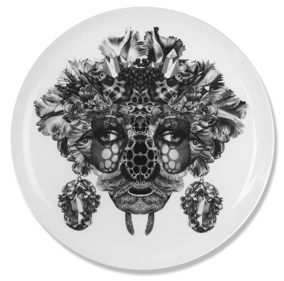 Shiva   Fine bone china plate. Produced in Stoke-on-Trent, England Dimensions: 27 cm  Hand applied illustration using decal.  £40.00