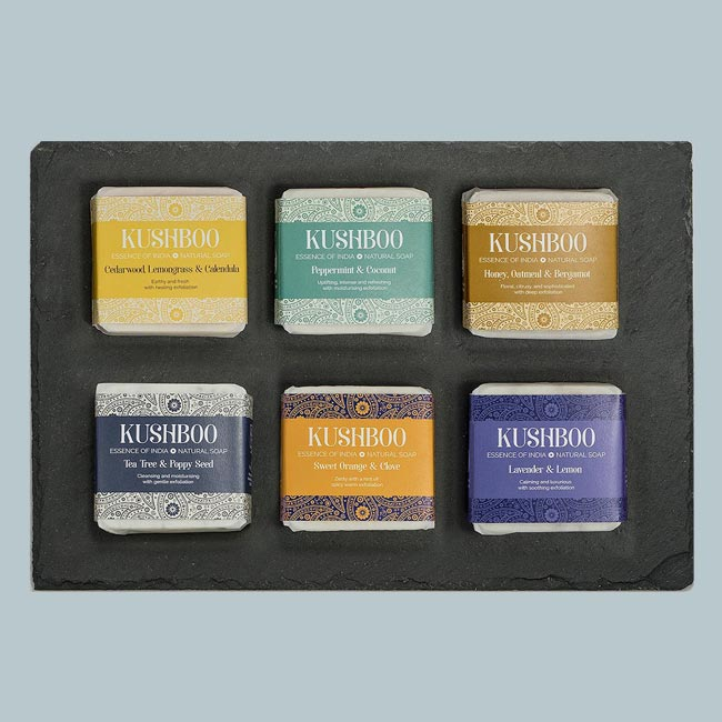 Kushboo Soaps   Building on a wealth of Indian beauty and wellbeing wisdom and featuring exquisite essential oils and botanicals, Kushboo artisan soaps are lovingly crafted using 100 per cent natural ingredients here in the Ribble Valley by Sarwat Jaleel.