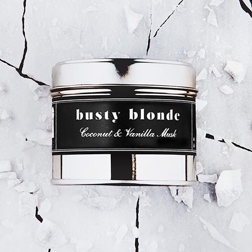 Busty Blonde   Coconut and vanilla musk fragrance.  Dimensions: 77mm x 65 mm, approx 240g  £10