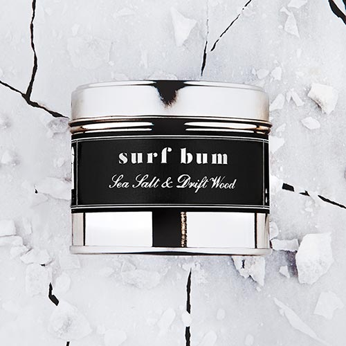 Surf Bum   Sea salt and driftwood fragrance.  Dimensions: 77mm x 65 mm, approx 240g  £10