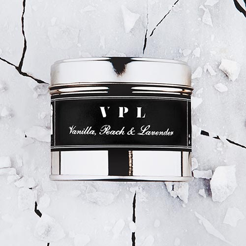 VPL   Vanilla, peach and lavender fragrance.  Dimensions: 77mm x 65 mm, approx 240g  £10